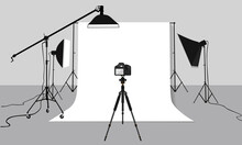 Flat Illustration Photography Studio. Vector Background With Soft Box Light, Camera, Tripod And Backdrop.
