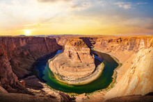 Horseshoe Bend Panorama View On Sunset. The Most Famous Landscape At Glen Canyon Nation Park In Arizona, USA.
