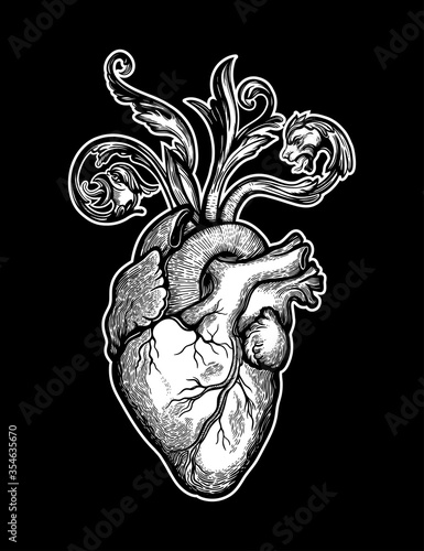 Photo Decorative naturalistic heart with baroque elements