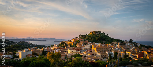 Obraz panorama of Begur old town and castle at sunset (Costa Brava - Girona - Spain) - fototapety do salonu