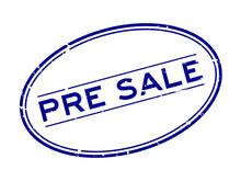 Grunge Blue Pre Sale Word Oval...