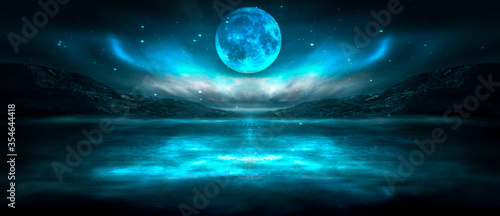 Modern futuristic fantasy night landscape with abstract islands and night sky with space galaxies Fototapete