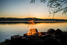 Bonfire In Front Of Lake