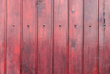 Red Wooden Varnished Fence Wit...