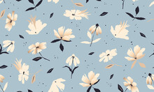 Beautiful Trendy Flower Pattern. Small Flowers. Fashionable Template For Design.