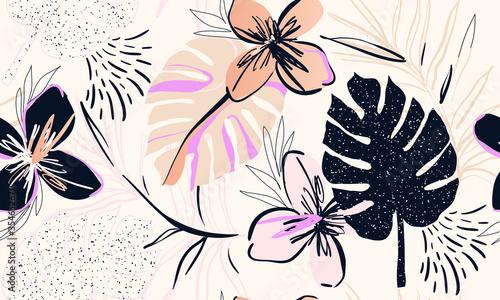 Fototapeta Trendy contemporary floral seamless pattern. Fashionable template for design. Soft feminine palette. obraz