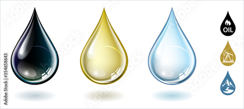 Fotografija Set of  crude oil,  petroleum, motor oil and blue water drops