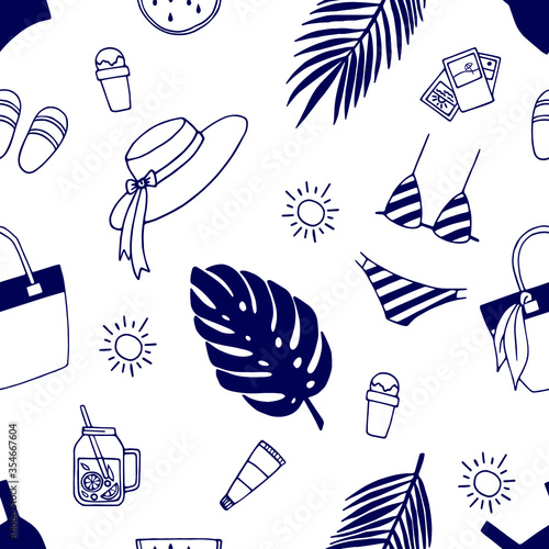 Fototapeta Seamless summer pattern with hand drawn elements. Doodle illustration for cards, posters, textile and other design. obraz na płótnie