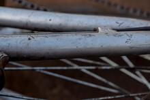 Close Up Peças Metálicas Prateadas. Parte De Bike.