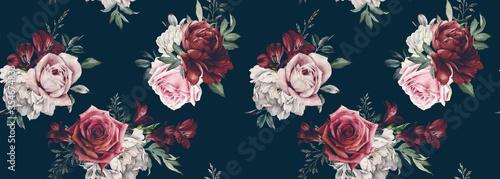 czerwone-kwiaty-retro-na-czarnej-scianie
