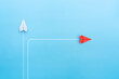 canvas print picture - New normal concept with Red paper plane in new direction on blue background