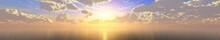 Sea Sunset Panorama, Ocean Sun...