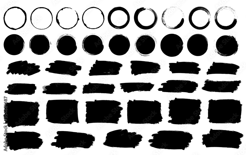 Fototapeta Paint brushes strokes mega set. Vector illustration