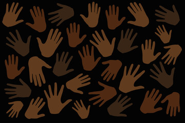 Many hands on dark background, stop racism. Black lives matter. Interracial community unity. Protests against racism in America. Modern vector in flat style. New movement on the rise.