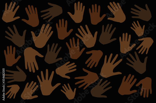 Obraz Many hands on dark background, stop racism. Black lives matter. Interracial community unity. Protests against racism in America. Modern vector in flat style. New movement on the rise. - fototapety do salonu