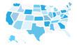 Mappa degli Stati Uniti con stati staccati