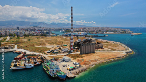 Valokuva Aerial drone photo of old abandoned fertiliser factory in Piraeus port where tom