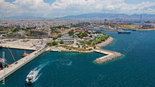 Aerial drone photo of old abandoned fertiliser factory in Piraeus port where tom Canvas-taulu