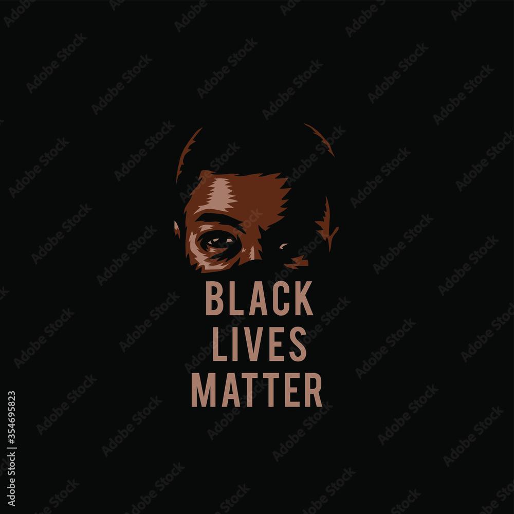 Fototapeta Vector illustration of black lives matter, isolated on black background