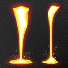 Effect Liquid Lava On Transparent Background. Lava Or Molten Metal Flowing. Vector Realistic Illustration