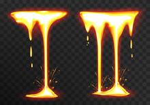 Effect Liquid Lava On Transparent Background. Lava Or Molten Metal Flowing. Vector Realistic Illustration