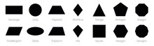 Geometric Shapes With Labels. Set Of 14 Basic Shapes. Simple Flat Vector Illustration