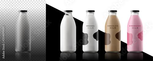 Obraz na plátně Realistic milk bottles