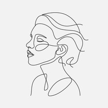 Woman Head Vector Lineart Illu...