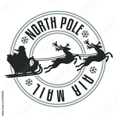 Tela North Pole Mail Santa Claus Vector Stamp Round Design