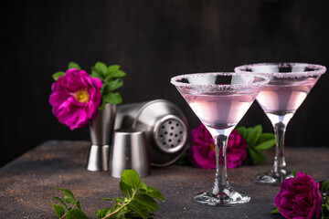 Pink martini cocktail with rose syrup