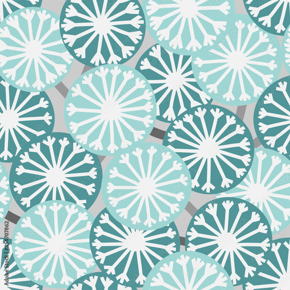 Scandinavian style dandelions vector light blue seamless pattern