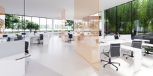 Spacious Light And Lighted Office With Work Desks And Glass Partitions Between.