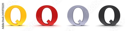 Leinwand Poster Q letter 3d sign type capital alphabet gold red silver black
