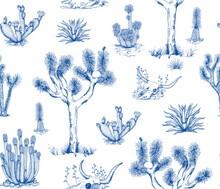 Toile De Jouy Style Pattern Illustration Inspired By The Flora Of The Mojave Desert. Desert Illustration With Joshua Trees, Agave Plants, Cacti And Other Succulents
