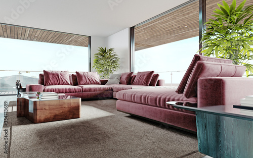 Obraz Living room with a large pink sofa and a TV unit with shelves and decor. Living room studio with kitchen and living area. Large panoramic windows. - fototapety do salonu