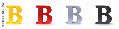 B letter 3d sign type capital alphabet gold red silver black Fototapete