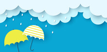 Monsoon Poster. Clouds, Rain And Umbrella On Blue Background. Vector Illustration