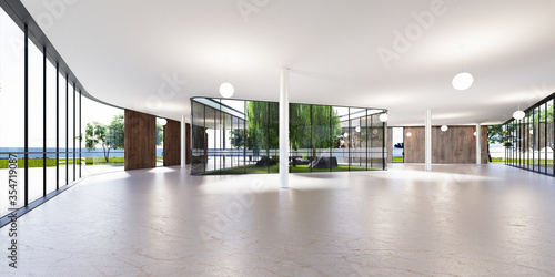 Spacious bright spatial rooms with lots of greenery behind the glass Wallpaper Mural