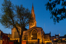 St. Martins Cathedral In Leicester By Night.