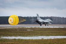 F16 Fighter Jet Landing With Open Parachute In Poland During Presentation