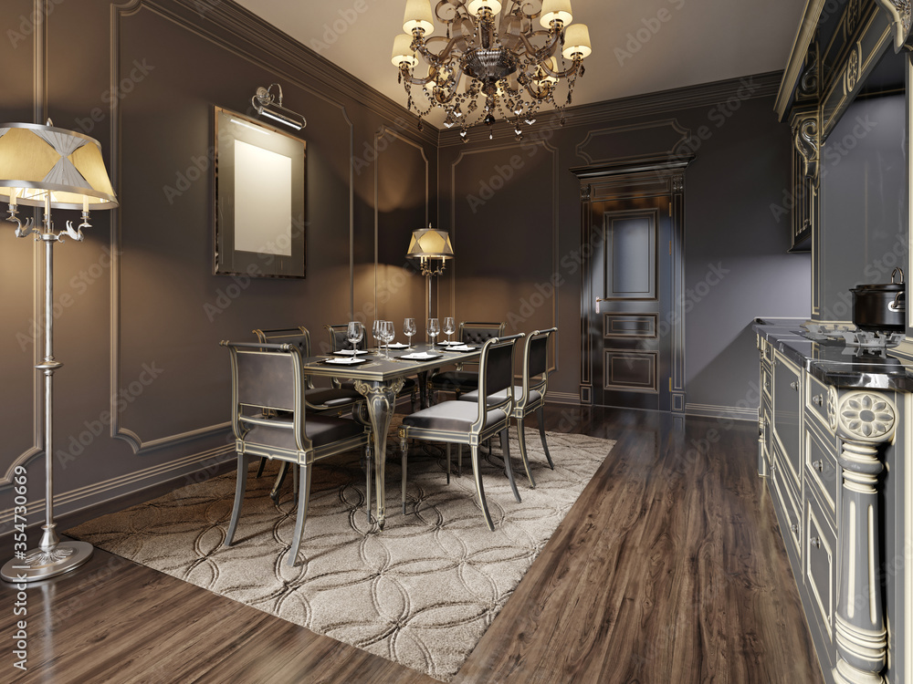 Fototapeta Modern retro vintage dining room with carved black wooden table and classic chairs. Dark colors.