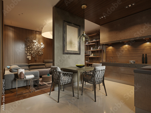 Dining room with contemporary style kitchen in dark brown studio apartments. Partition wall separating the living room and kitchen.