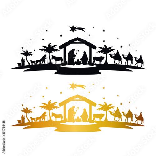 Leinwand Poster Nativity Scene Silhouette