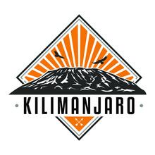Kilimanjaro Tanzania Skyline Mountain. Silhouette Design Vector Art. Africa Famous Nature Symbols.