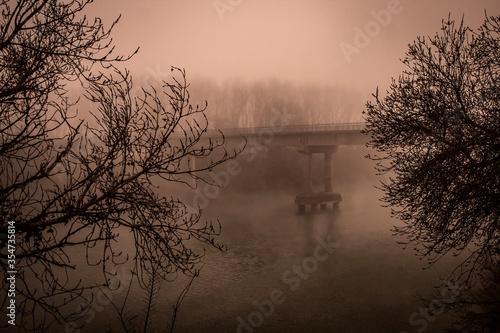 invierno en el rio Canvas Print