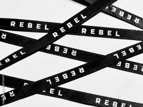 Fototapeta Black ribbon 'Rebel'