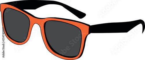 Canvas Print orange vector sunglasses on white background