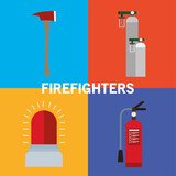 siren extinguisher oxygen cylinders and axe vector design