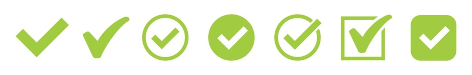 Green check mark and red cross icon set. Circle and square. Tick symbol in green color, vector illustration.