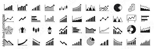 Fototapeta Graphs and charts templates. Big set business infographics. Statistic and data, information, economy. Financial chart. Vector illustration. obraz